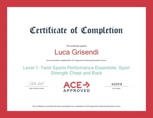 Certificazione Ace - Luca Grisendi Personal Trainer online
